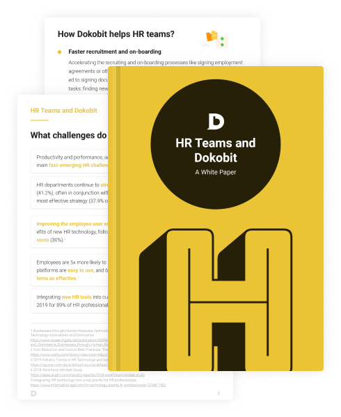 Thumbnail pages of HR Teams and Dokobit: A White Paper
